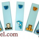 9451 -LOT OF 5PCS CHILDREN L. BLUE MEZUZAH 7 CM 3D- ASS. DESIGNS, ISRAEL JUDAICA MEZUZAH