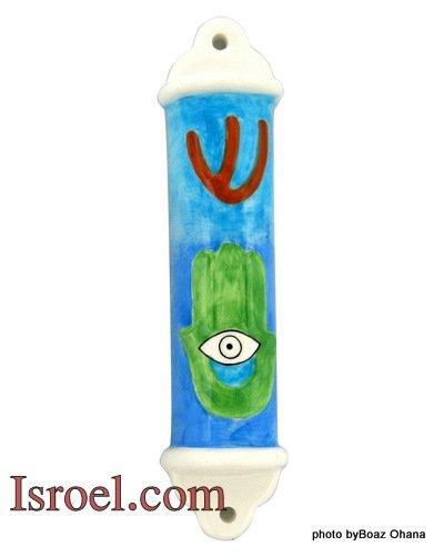 """22035 -CERAMIC MEZUZAH """"HAMSA"""" 7CM.  ISRAEL JUDAICA MEZUZA"""