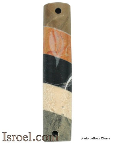 "70352 - MARBLE MEZUZAH- COLORS, ""SHIN"" 7CM,  ISRAEL JUDAICA MEZUZA FOR PROTECTION"