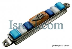 70558 - PEWTER MEZUZAH 10CM BLUE STONES,  ISRAEL JUDAICA MEZUZA FOR PROTECTION BY ISROEL.COM