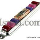 70559 - PEWTER MEZUZAH 7CM RED-PURPLE STONES,  ISRAEL JUDAICA MEZUZA FOR PROTECTION BY ISROEL.COM