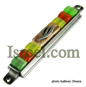 70561 - PEWTER MEZUZAH 7CM GREEN-ORANGE STONES,  ISRAEL JUDAICA MEZUZA FOR PROTECTION BY ISROEL.COM
