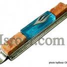 70613 -10cm PEWTER /STONE MEZUZAH BLUE METALLIC STONE ,JUDAICA MEZUZA BY ISROEL.COM