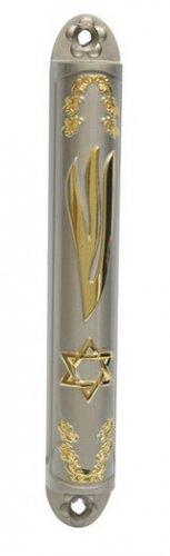 "DESIGNER MEZUZAH 28670 GOLD MEZUZAH 12CM ""STAR OF DAVID"",ISRAELI JUDAICA MEZUZA BY ISROEL.COM"