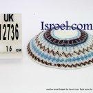 12736 -BUY KIPPAH 16CM, BROWN L. BLUE yarmulka kippahs for sale,klipped kippahs, kippah designs