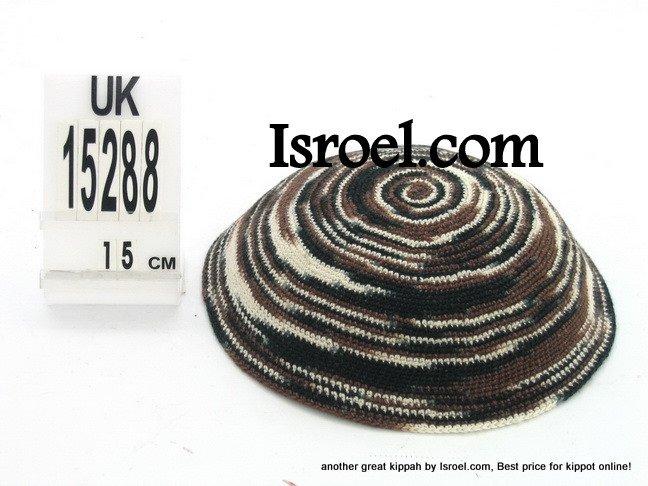 15288 KNITTED KIPPAH BLACK BROWN, kippah store, kipa, cheap kippahs,bat mitzvah
