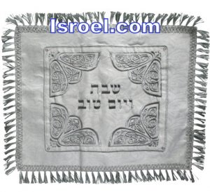 UK61434 - BROCKETT CHALLAH COVER WITH BORDER LACE RECTANGLE 52*42 CM