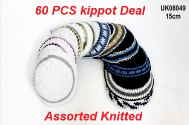 LOT ASSORTED KIPPOT KNITTED  PRICE OF THE WHOLE SET(60PCS) IS ONLY $132