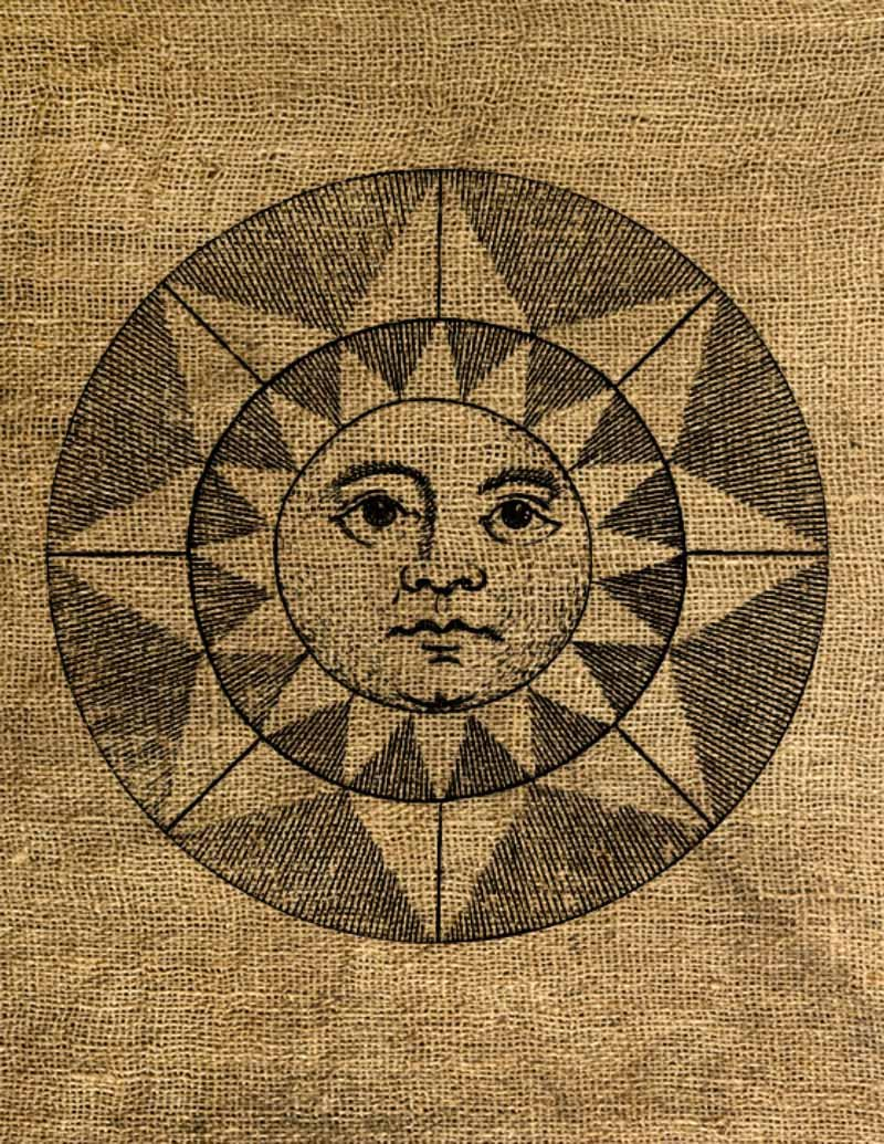 Vintage, Altered, Iron On, Ephemera, RENAISSANCE SUN  Digital Image Transfer No.15