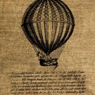 Vintage, Altered, Whimsical, Ephemera, Iron On, Digital Image Transfer AIR BALLOON No.8