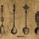 Vintage, Altered, Iron On, Ephemera,  Spoons Digital Image Transfer No.48