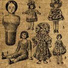 Vintage, Altered, Iron On, Ephemera,  Dolls Collage  Digital Image Transfer No.59