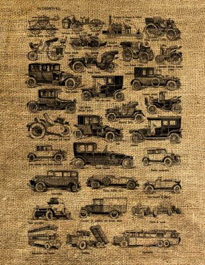 Vintage,  Altered, Whimsical, Ephemera, Iron on, CARS, AUTOMOBILES, Digital Image Transfer No.73