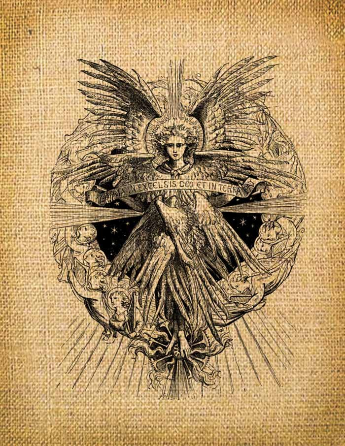 Vintage Angel, Altered, Ephemera, Iron on, Digital Image No.16
