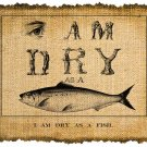 Vintage Iron On Digital Image Transfer DRY AS A FISH No.117