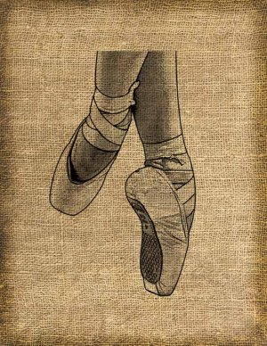 Pointe Shoes, Altered, Printable, Iron On, Ephemera, Digital Image No. 139