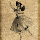 Vintage Ballerina, Altered, Printable, Iron On, Ephemera, Digital Image No. 138