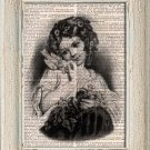 Art Print, Vintage Girl, Dictionary Page Print 0137