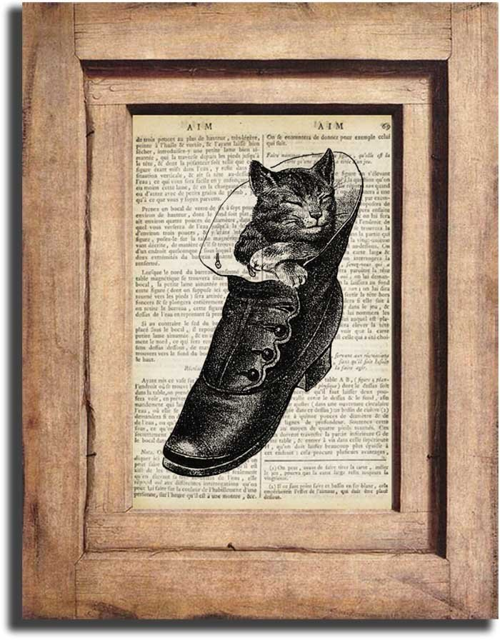Art Print, Vintage Kitten in Boot Dictionary Print 0001