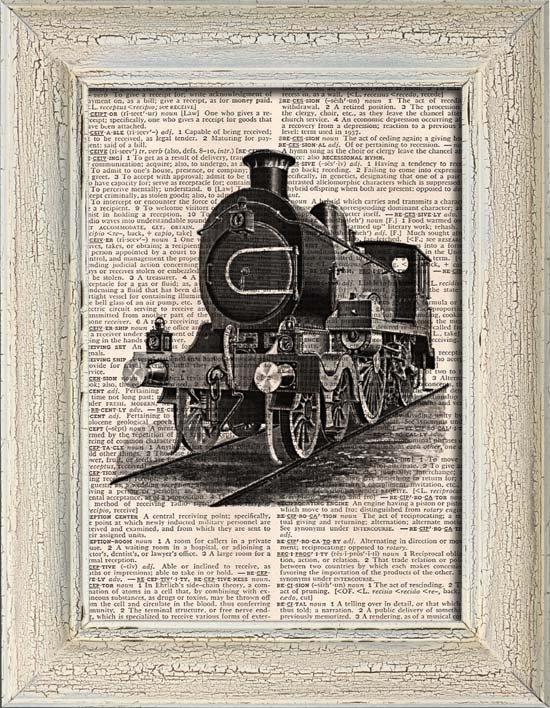 Art Print, Vintage, LOCOMOTIVE, Dictionary Page Print 0098