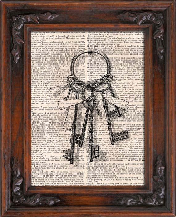 Art Print, VINTAGE KEYS, Vintage, Dictionary Page Print 0132