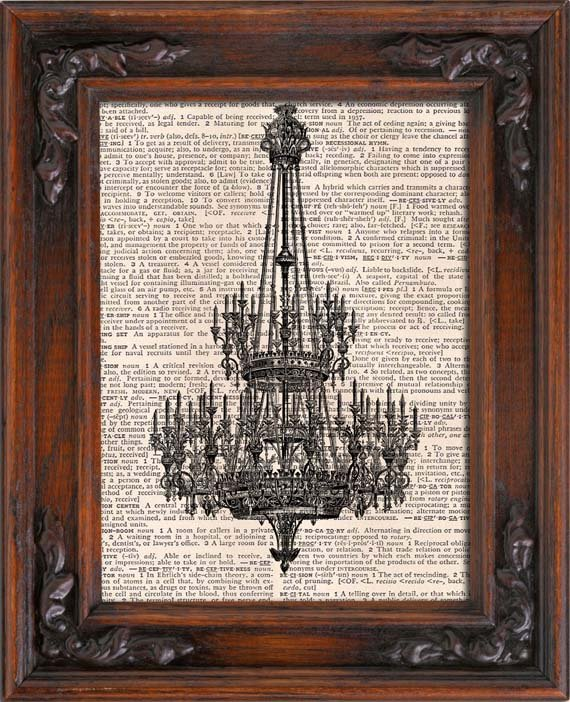 Art Print, VINTAGE CHANDELIER, Vintage, Dictionary Page Print 0131