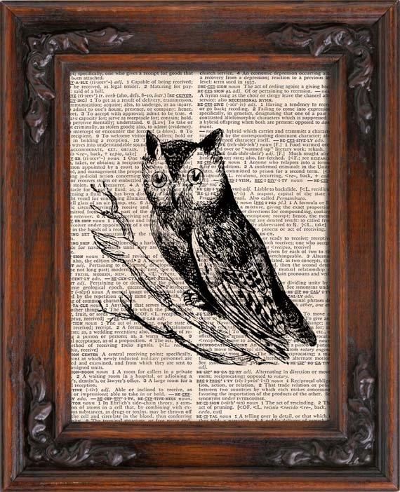 Art Print, VINTAGE OWL, Vintage, Dictionary Page Print 0129