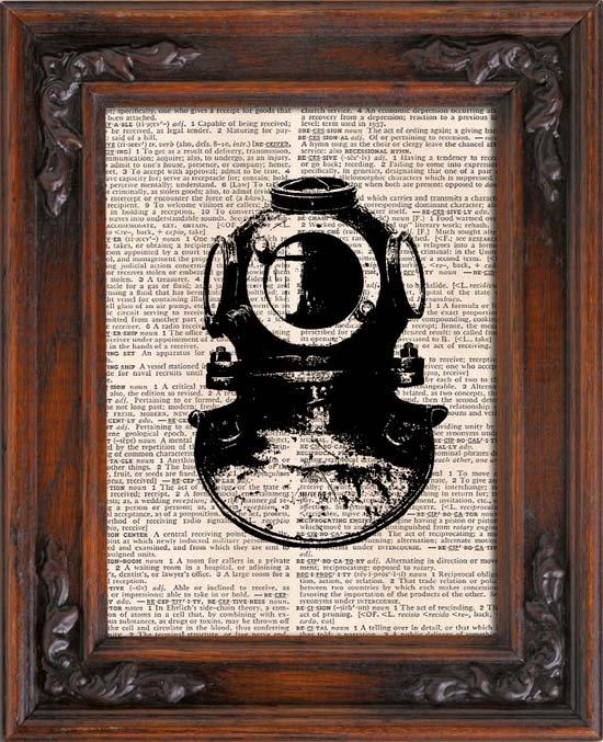 Art Print, VINTAGE SCUBA GEAR, Vintage, Dictionary Page Print 0126
