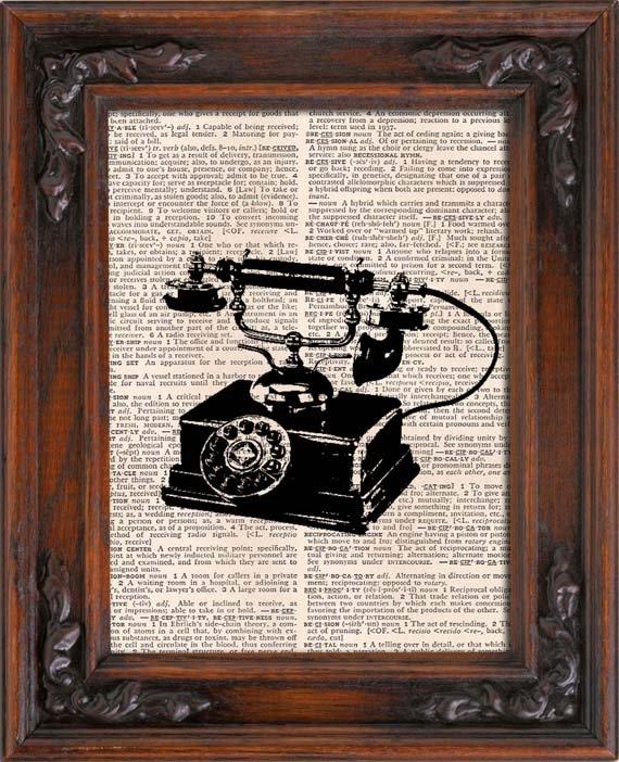 Art Print, TELEPHONE, Vintage, Dictionary Page Print 0125
