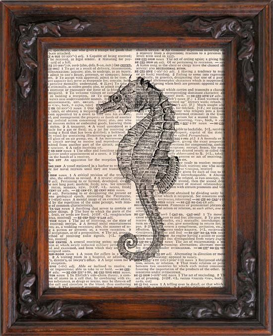 Art Print, SEAHORSE, Vintage, Dictionary Page Print 0123