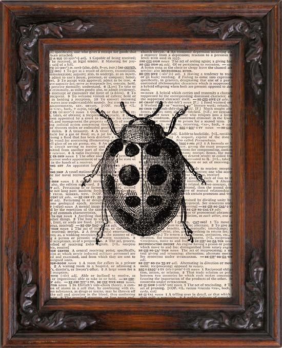 Art Print, LADYBUG, Vintage, Dictionary Page Print 0121