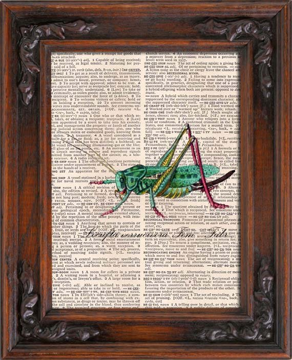 Art Print, GRASSHOPPER, Vintage, Dictionary Page Print 0116