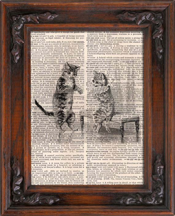 Art Print, Vintage, KITTENS, Dictionary Page Print 0111