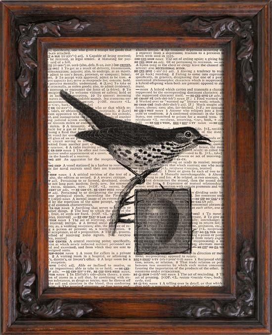 Art Print, Vintage, BIRD AND EGG, Dictionary Page Print 0102
