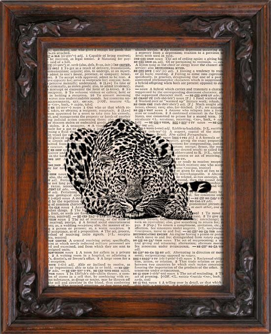 Art Print, Vintage, LEOPARD, Dictionary Page Print 0101