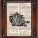 Art Print, Vintage, LEOPARD, Dictionary Page Print 0101