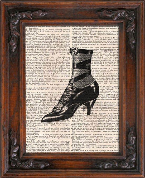 Art Print, Vintage, PRETTY VINTAGE SHOE, Dictionary Page Print 0099