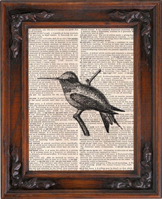 Art Print, Vintage, HUMMINGBIRD, Dictionary Page Print 0097