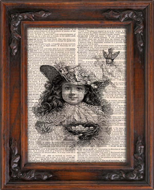 Art Print, Vintage, Girl holding Bird Nest, Dictionary Page Print 0096