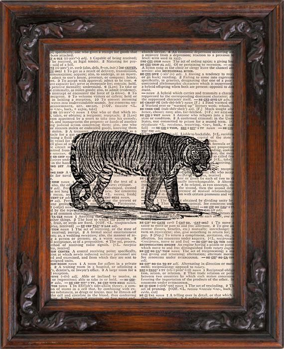 Art Print, Vintage, TIGER, Dictionary Page Print 0093