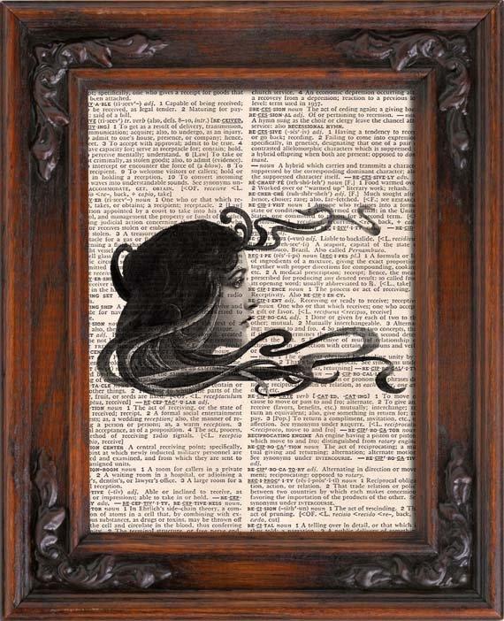 Art Print, Vintage, WOMAN HEAD, Dictionary Page Print 0092