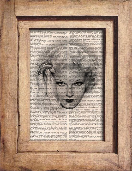 Art Print, Vintage, WOMAN PORTRAIT, Dictionary Page Print 0089