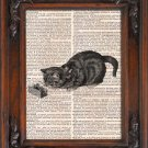 Art Print, Vintage, CAT, Dictionary Page Print 0088
