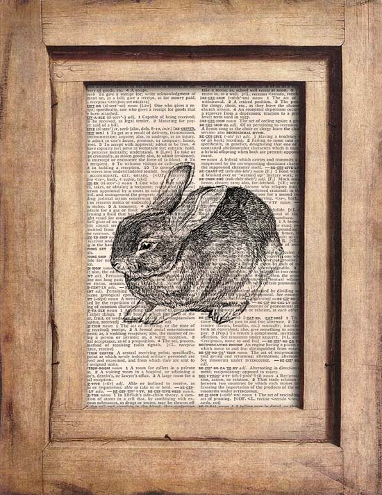 Vintage, Rabbit, Dictionary Page Print 0075