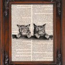 Art Print, Vintage, Two kittens, Dictionary Page Print 0074