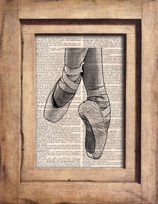 Vintage, Pointe Shoes Dictionary Page Print 0070
