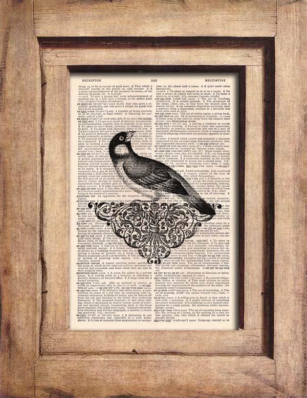 Vintage Bird Dictionary Page Print 0060