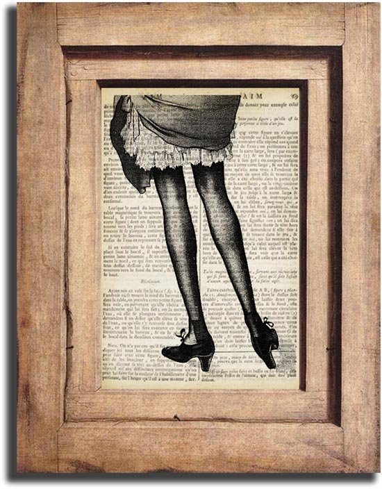 Vintage Woman Legs Dictionary Page Print 0044