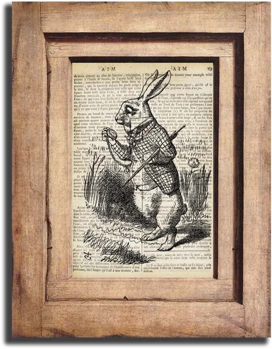 Vintage White Rabbit, Alice in Wonderland, Dictionary Page Print 0029