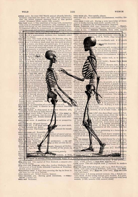 Art Print, Anatomical, Vintage, SKELETONS Dictionary Page Print 0024